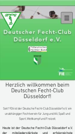 Vorschau der mobilen Webseite www.dfc-duesseldorf.de, Deutscher Fecht-Club Düsseldorf e.V.