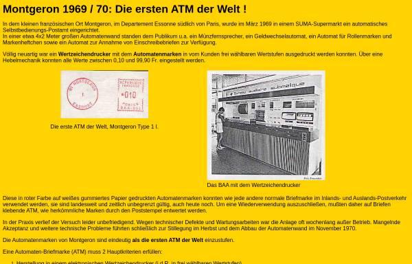 Vorschau von www.dohren-briefmarken.de, Frankreich: Montgeron 1969/70 - Die erste ATM der Welt!