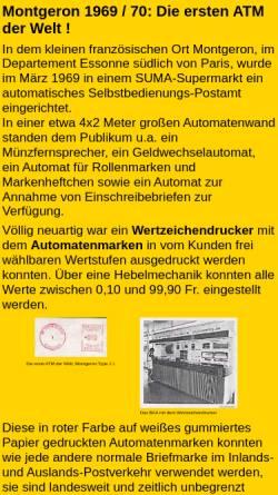 Vorschau der mobilen Webseite www.dohren-briefmarken.de, Frankreich: Montgeron 1969/70 - Die erste ATM der Welt!