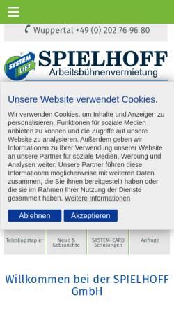 Vorschau der mobilen Webseite www.spielhoff.de, Spielhoff GmbH