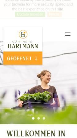 Vorschau der mobilen Webseite www.gaertnerei-hartmann.de, Gärtnerei Hartmann