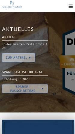 Vorschau der mobilen Webseite www.fuggerbank.de, Fürst Fugger Privatbank Aktiengesellschaft