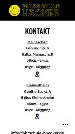 Vorschau der mobilen Webseite www.fahrschule-haecker.de, Fahrschule Häcker