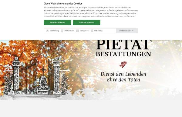 Vorschau von www.bestattungen-pietaet.de, Bestattungen Pietät