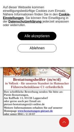 Vorschau der mobilen Webseite www.bestattungen-pietaet.de, Bestattungen Pietät