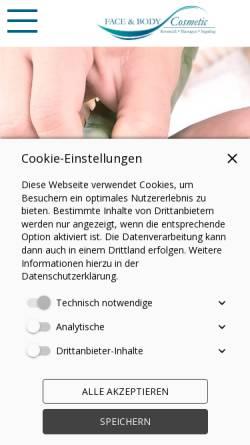 Vorschau der mobilen Webseite www.face-and-body-wellness.de, Face & Body Cosmetic Studio Regensburg