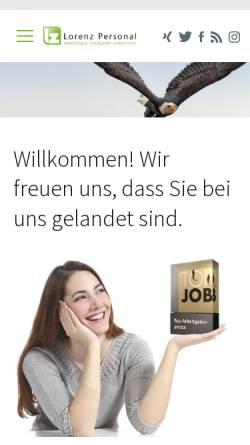 Vorschau der mobilen Webseite www.lorenz-zeitarbeit.de, Lorenz Zeitarbeit GmbH