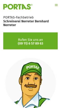 Vorschau der mobilen Webseite nerreter.portas.de, Schreinerei Nerreter