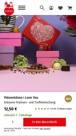 Vorschau der mobilen Webseite www.lebkuchen-schmidt.com, Lebkuchen-Schmidt GmbH & Co. KG