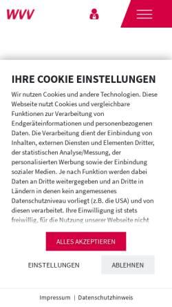 Vorschau der mobilen Webseite www.wvv.de, Würzburger Versorgungs- und Verkehrs-GmbH