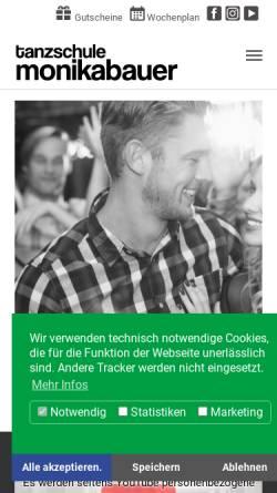 Vorschau der mobilen Webseite www.monika-bauer.de, Tanz-Center Monika Bauer