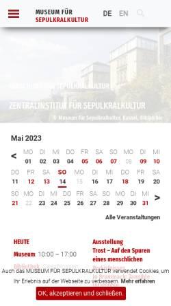 Vorschau der mobilen Webseite www.sepulkralmuseum.de, Museum für Sepulkralkultur