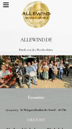 Vorschau der mobilen Webseite www.allewind.de, Allewind