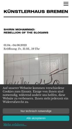 Vorschau der mobilen Webseite www.kuenstlerhausbremen.de, KünstlerHaus Bremen