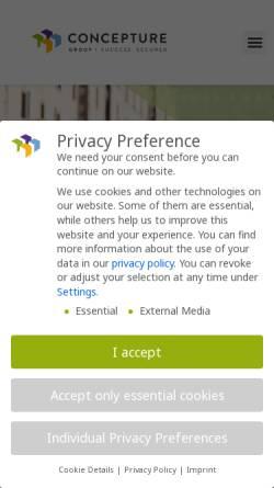 Vorschau der mobilen Webseite www.concepture.de, Concepture GmbH