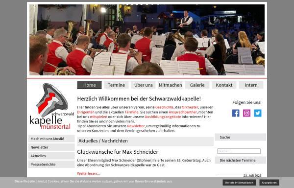 Vorschau von www.schwarzwaldkapelle.de, Musikverein Schwarzwaldkapelle Münstertal e.V.