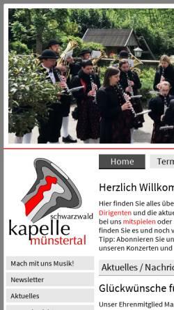 Vorschau der mobilen Webseite www.schwarzwaldkapelle.de, Musikverein Schwarzwaldkapelle Münstertal e.V.