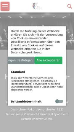 Vorschau der mobilen Webseite www.hohner-orchester.de, Hohner-Akkordeonorchester 1927 Trossingen e.V.