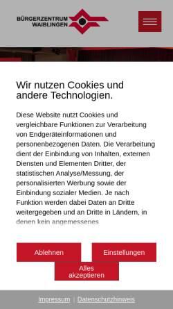 Vorschau der mobilen Webseite www.buergerzentrum-waiblingen.de, Bürgerzentrum