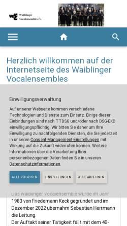 Vorschau der mobilen Webseite www.waiblinger-vocalensemble.de, Waiblinger Vocalensemble