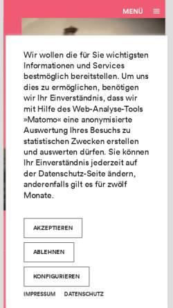 Vorschau der mobilen Webseite www.staatsgalerie.de, Staatsgalerie Stuttgart