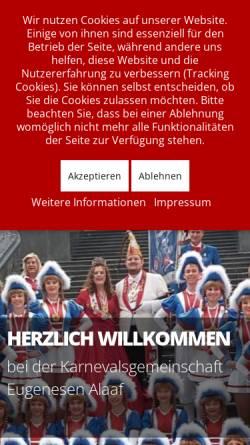 Vorschau der mobilen Webseite www.eugenesenalaaf.de, Karnevalsgemeinschaft Eugenesen Alaaf