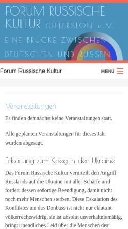 Vorschau der mobilen Webseite www.forum-russische-kultur.de, Forum Russische Kultur Gütersloh e. V.