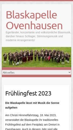 Vorschau der mobilen Webseite www.blaskapelle-ovenhausen.de, Blaskapelle Ovenhausen e.V.