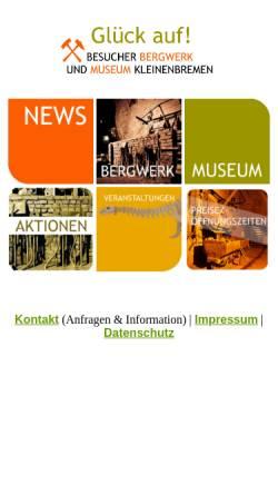 Vorschau der mobilen Webseite www.bergwerk-kleinenbremen.de, Besucher-Bergwerk Kleinenbremen GmbH
