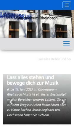 Vorschau der mobilen Webseite glasmuseum-rheinbach.de, Glasmuseum Rheinbach