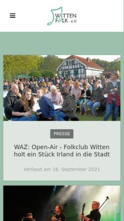Vorschau der mobilen Webseite www.wittenfolk.de, Wittenfolk e.V.