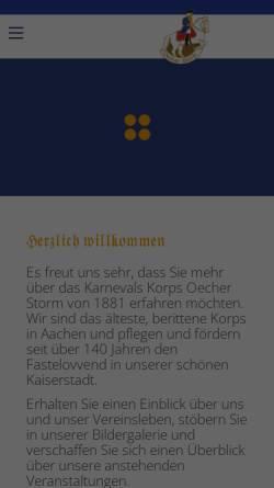 Vorschau der mobilen Webseite www.oecherstorm.de, Karnevalkorps Oecher Storm von 1881 e.V