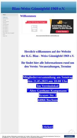 Vorschau der mobilen Webseite www.blauweiss-guennigfeld.npage.de, KaGe Blau-Weiß Günnigfeld 1969 e.V.