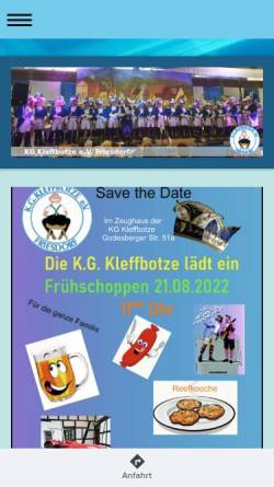 Vorschau der mobilen Webseite www.kg-kleffbotze.de, Karnevalsgesellschaft Kleffbotze e.V. Friesdorf