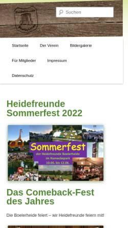 Vorschau der mobilen Webseite www.heidefreunde.de, Heidefreunde Boelerheide - Verein zur Pflege heimatlichen Brauchtums