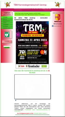 Vorschau der mobilen Webseite www.tbm-uentrop.de, TBM - Karnevalsgesellschaft Uentrop