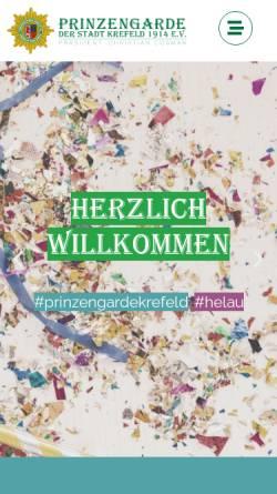 Vorschau der mobilen Webseite www.prinzengarde-krefeld.de, Prinzengarde der Stadt Krefeld 1914 e.V.