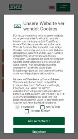 Vorschau der mobilen Webseite www.shz-gmbh.de, SHZ GmbH