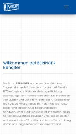 Vorschau der mobilen Webseite www.beringer-behaelter.de, Beringer GmbH