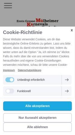 Vorschau der mobilen Webseite www.muekage.de, Erste Grosse Mülheimer Karnevals-Gesellschaft 1937 e.V.
