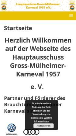 Vorschau der mobilen Webseite www.muelheimer-karneval.de, Hauptausschuss Gross-Mülheimer-Karneval 1957 e. V.