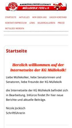 Vorschau der mobilen Webseite www.kg-muellekolk.de, Karnevalsgesellschaft Müllekolk e.V. Neuss-Weckhoven 1950