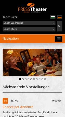 Vorschau der mobilen Webseite www.fresstheater.de, Fresstheater Chemnitz