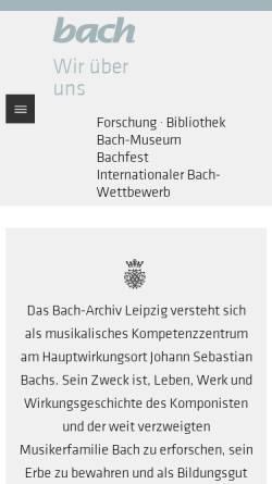 Vorschau der mobilen Webseite www.bach-leipzig.de, Bach-Archiv Leipzig