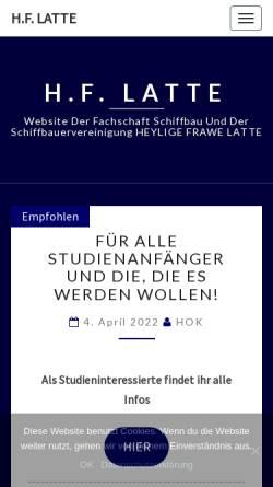 Vorschau der mobilen Webseite www.hf-latte.de, Fachschaft Schiffbau - Heylige Frawe Latte