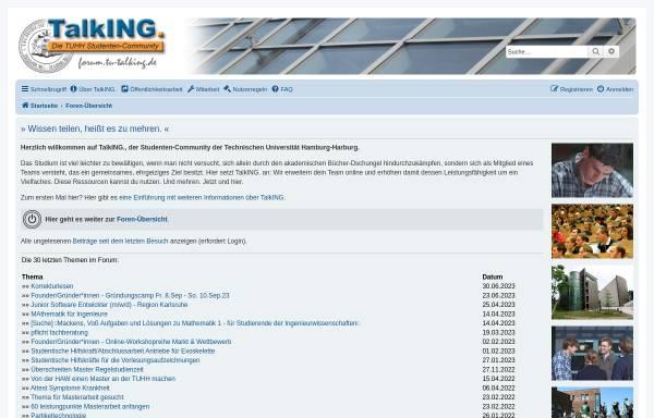 Vorschau von www.tu-harburg.de, TalkING. Die TUHH Studenten-Community