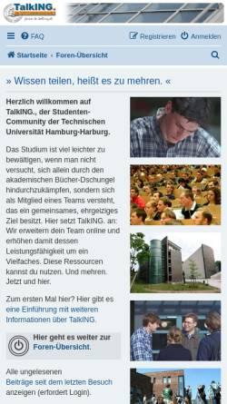 Vorschau der mobilen Webseite www.tu-harburg.de, TalkING. Die TUHH Studenten-Community