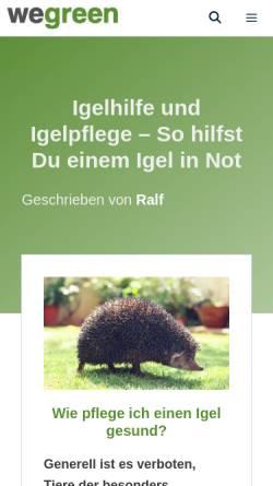 Vorschau der mobilen Webseite www.igelsos.de, Igel-SOS Donau-Ries e.V.