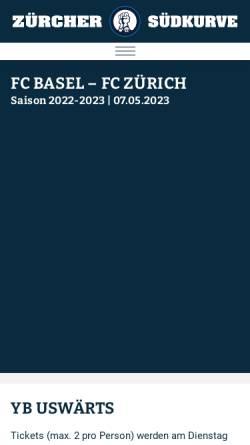 Vorschau der mobilen Webseite www.suedkurve.ch, FCZ - Südkurve