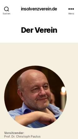 Vorschau der mobilen Webseite www.insolvenzverein.de, Berlin/Brandenburger Arbeitskreis für Insolvenzrecht e.V.